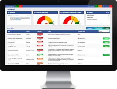 safety champion safety software easy overview dashboard active tasks register