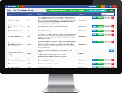 safety champion safety software compliance register safety planning module