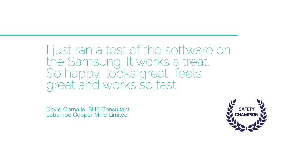 safety champion safety software customer testimonial ohs software lubambe copper mine zambia